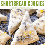 Close up of a Lemon Lavender Shortbread Cookie on lavender buds with title at top