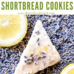 Pin image for one triangle Lemon Lavender Shortbread Cookie on a bed of lavender flowers with lemon slices and title at top