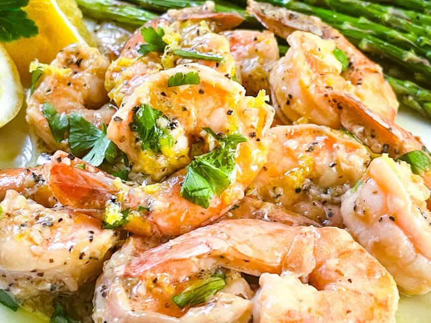 Close up of the seafood on a plate