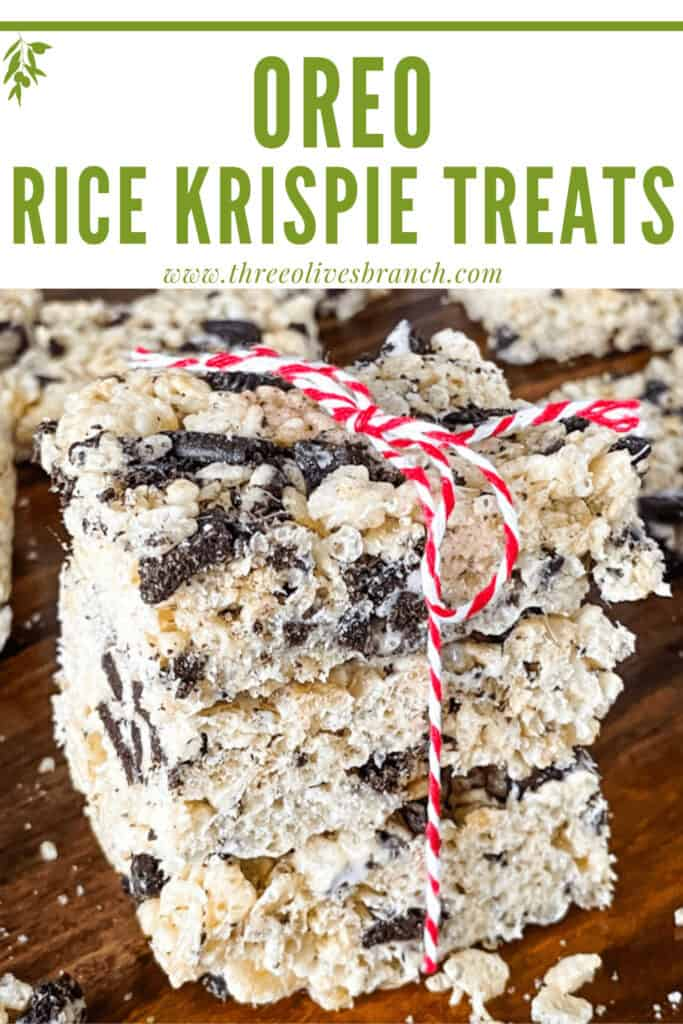 Pin image for a stack of Oreo Rice Krispie Treats with title at top