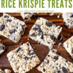 Pin image for squares of Oreo Rice Krispie Treats with title at top