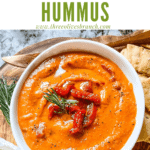 Pin image of Hummus with Red Pepper in a bowl with title at top