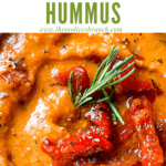 Pin image of Hummus with Red Pepper close up with title at top