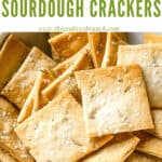 Pin image for Rosemary Sourdough Crackers close up with title at top