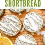 Pin image of Earl Grey Shortbread Cookies on a board with glaze on them and title at top