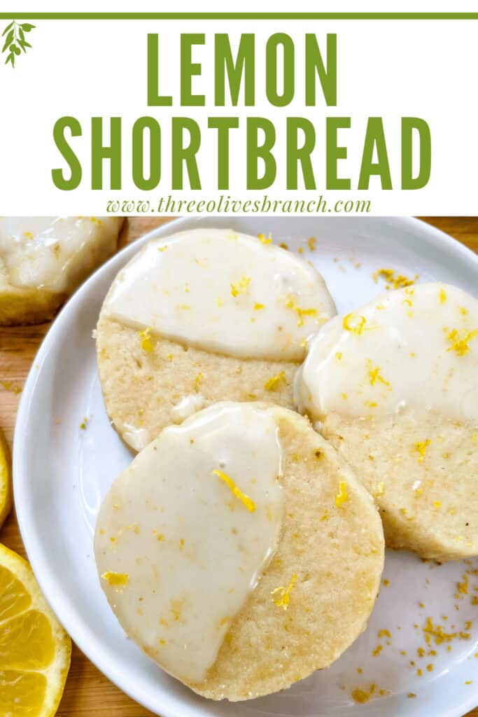 Pin image of Lemon Shortbread with glaze on a plate and title at top