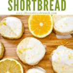 Pin image of Lemon Shortbread with glaze spread out on a cutting board with lemon slices and title at top