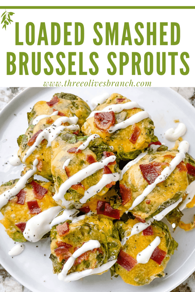 Pin image of Loaded Smashed Brussels Sprouts in a pile with title at top