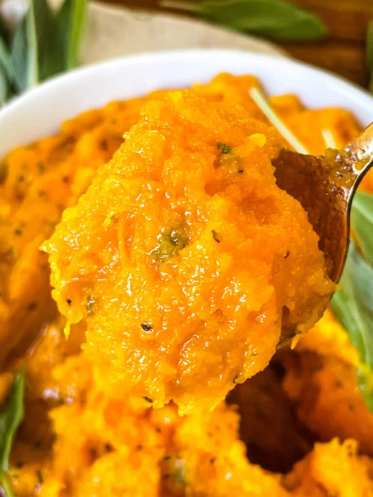A spoon full of the Mashed Butternut Squash