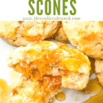 A close up of a torn Peach Scone with title at top