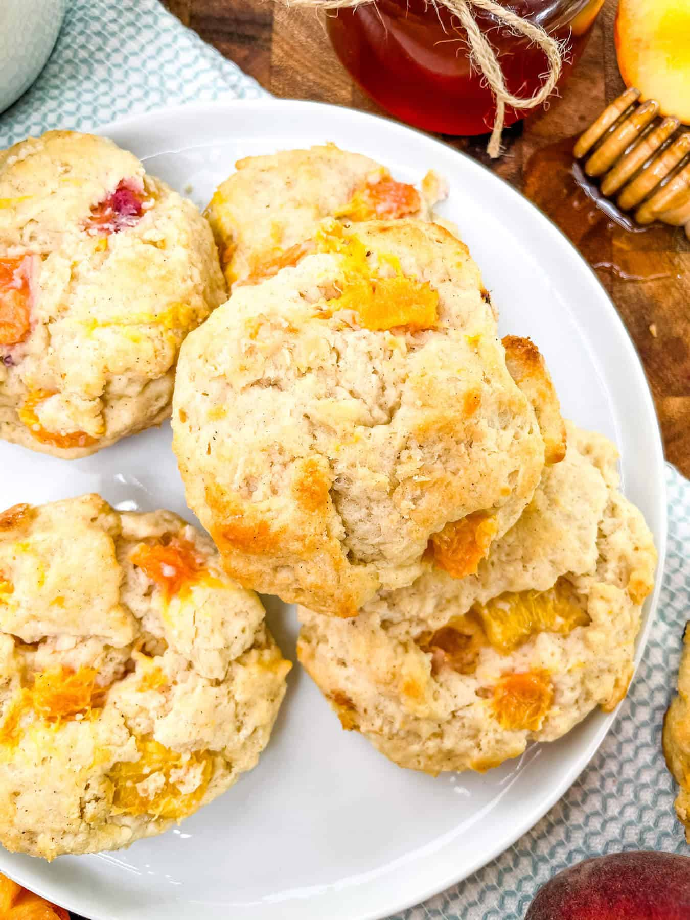 Top view of Peach Scones on a white round plate