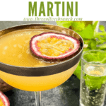 Pin image of a Pornstar Martini glass with title at top