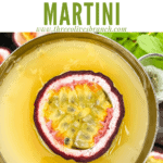 Pin image of top view of Pornstar Martini with title at top