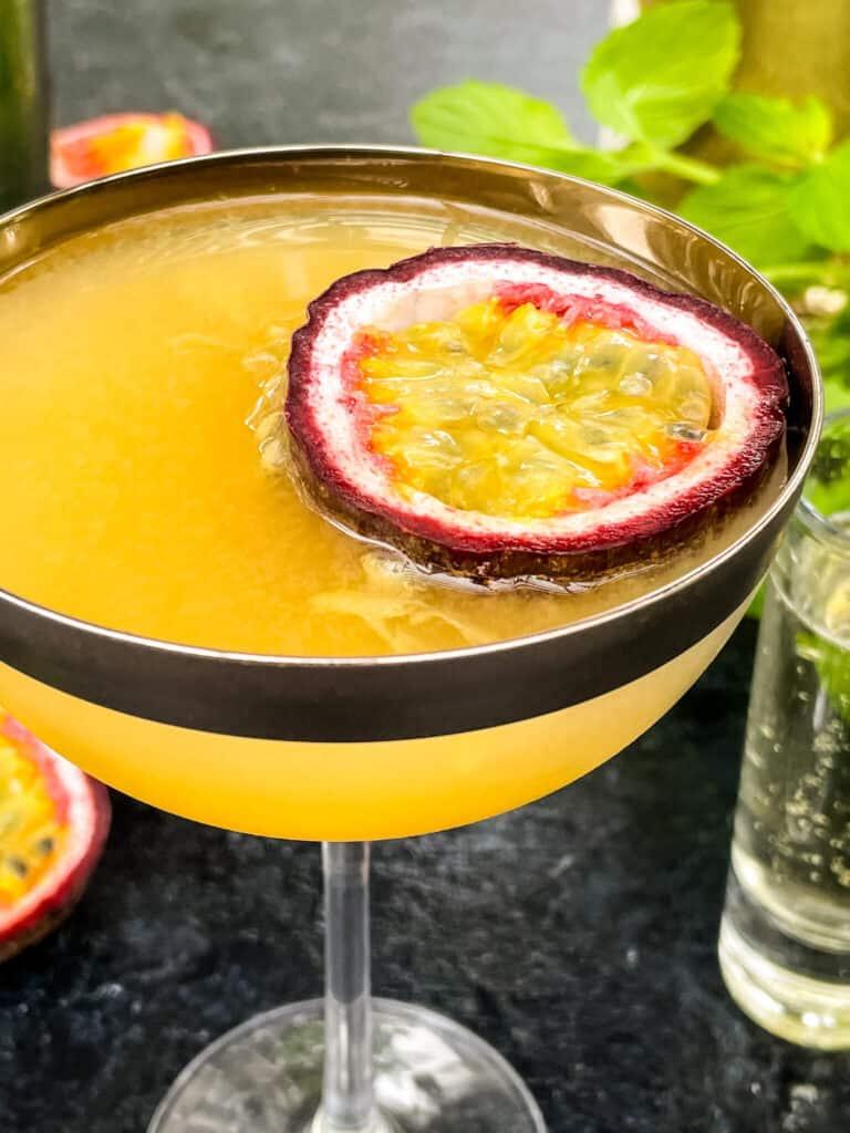 Close up of Pornstar Martini in a coupe glass