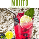 Pin image of bright pink Blueberry Mojito with title at top