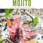 Pin image of two Blueberry Mojito with title at top