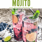 Pin image of Blueberry Mojito in glasses with title at top