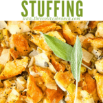 Pin image close up of Onion and Sage Stuffing (Dressing) with title at top