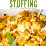 Pin image of a spoon scooping Onion and Sage Stuffing (Dressing) with title at top