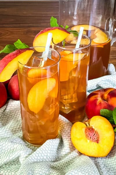 Glasses of Peach Tea on a towel