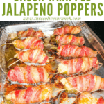 Pin image of Smoked Jalapeno Poppers on a tray in the smoker with title at top