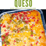 Pin image of Smoked Queso on the smoker with title at top