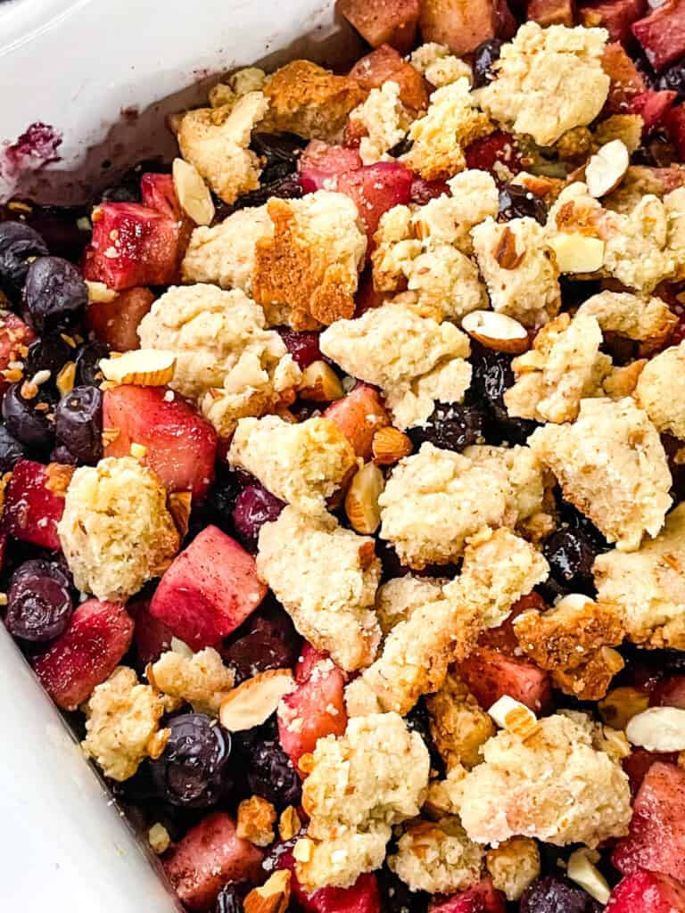 Close up of the crumble on top of the fruit