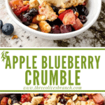 Long pin image of Apple and Blueberry Crumble with title