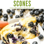 Pin image for torn Blueberries Scones Recipe with title at top