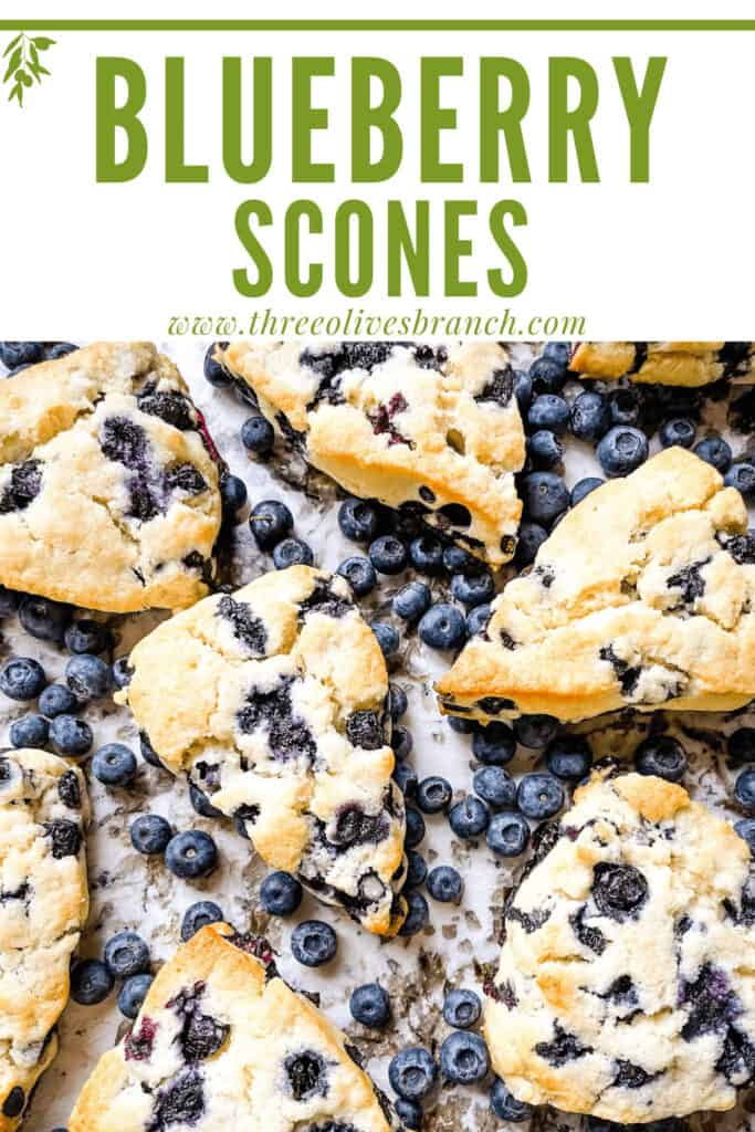 Pin image of Blueberries Scones Recipe scattered with title at top