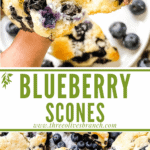 Long pin for Blueberries Scones Recipe with title