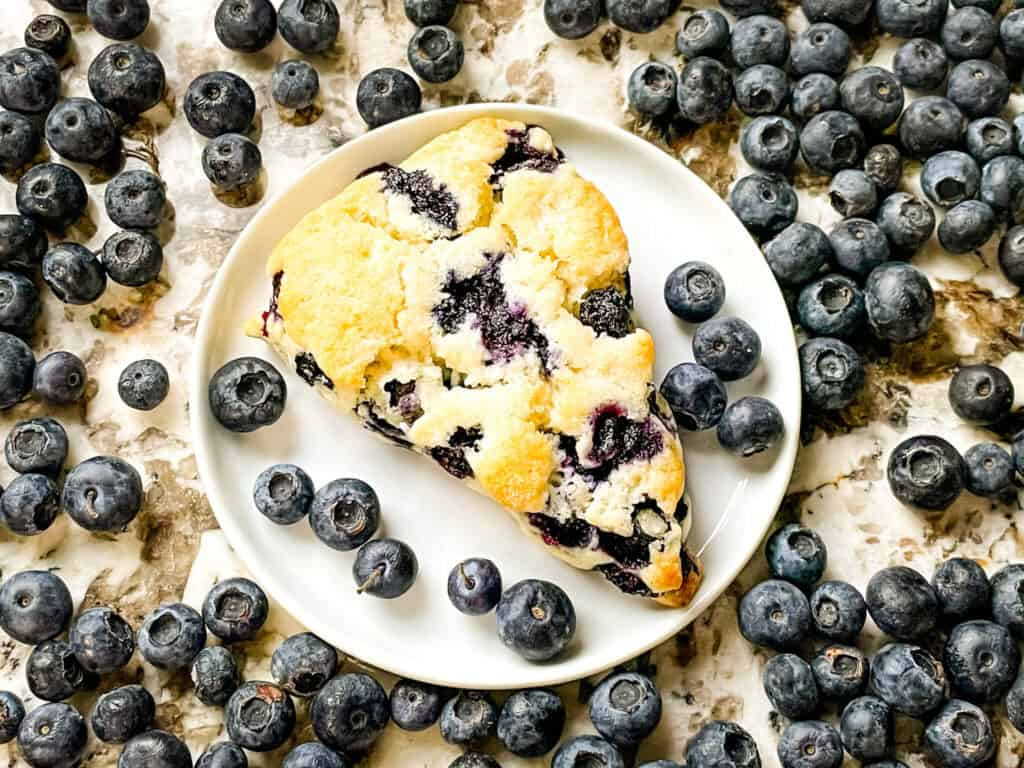 A blueberry scone on a plate with fruit around it