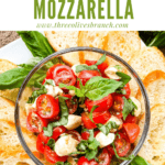 Pin image of Bruschetta with Mozzarella (Caprese Bruschetta) on a serving platter with title at top