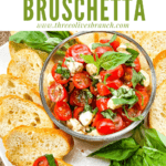Pin image for Bruschetta with Mozzarella (Caprese Bruschetta) with the mixture in a bowl and crostini on plate with title at top