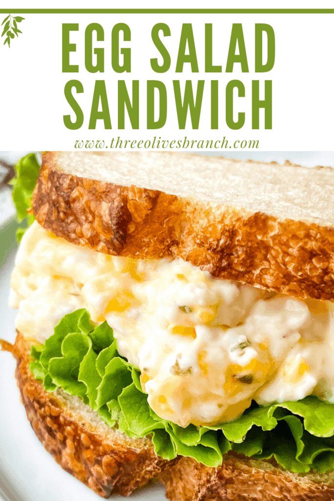 Pin image of a Egg Salad Sandwich with title at top