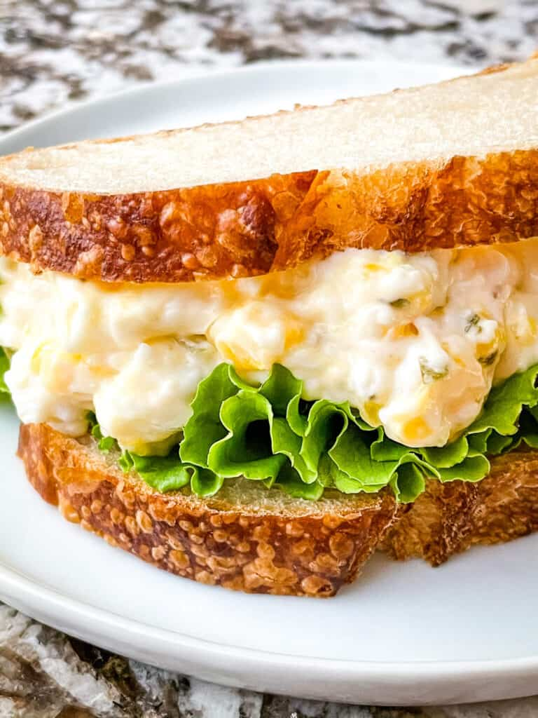 The sandwich built and on a plate