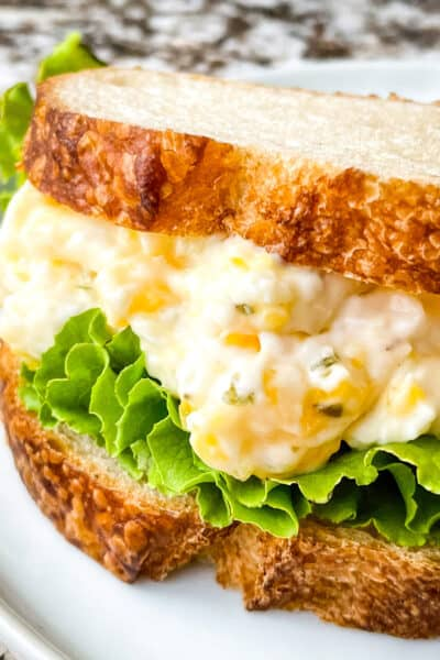 Close up side view of the Egg Salad Sandwich