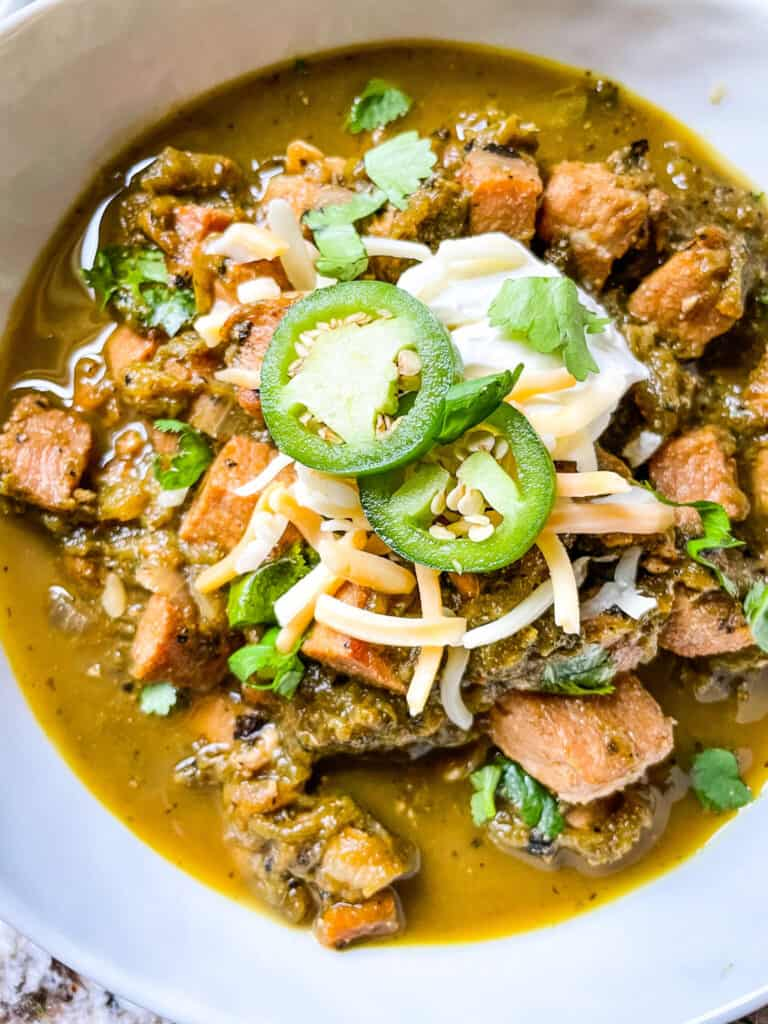 Top view of a bowl of Hatch Pork Green Chili