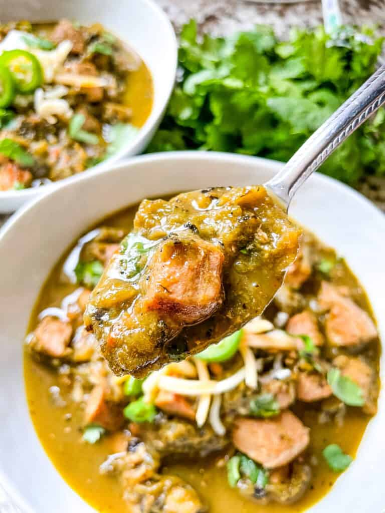A spoon of Hatch Pork Green Chili over the bowl