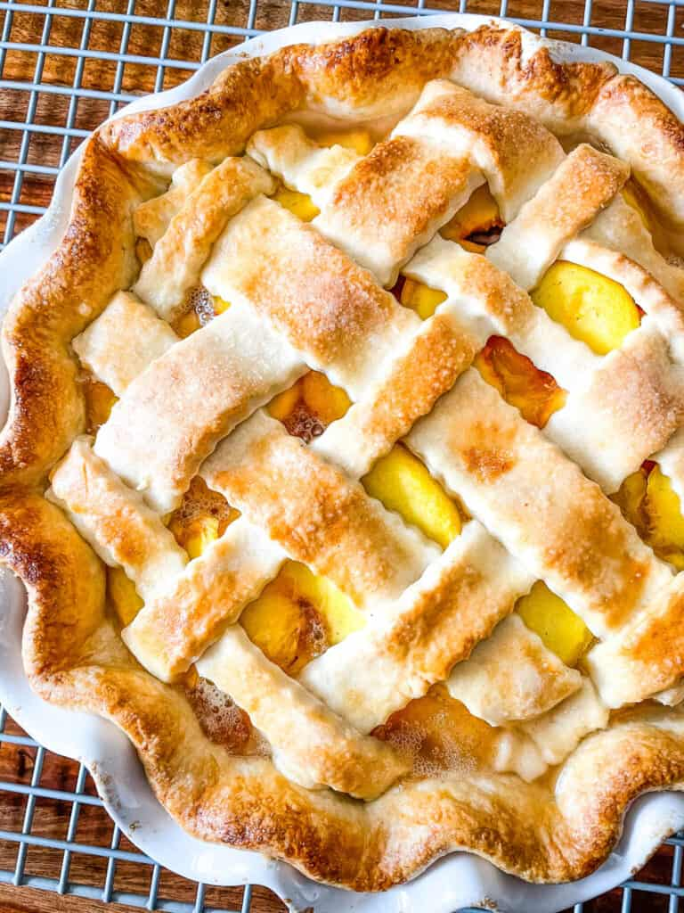 Top view of cooked peach pie