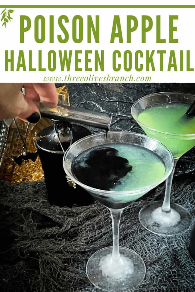 Pin image of a hand pouring the black poison into a green Poison Apple Halloween Cocktail with title at top