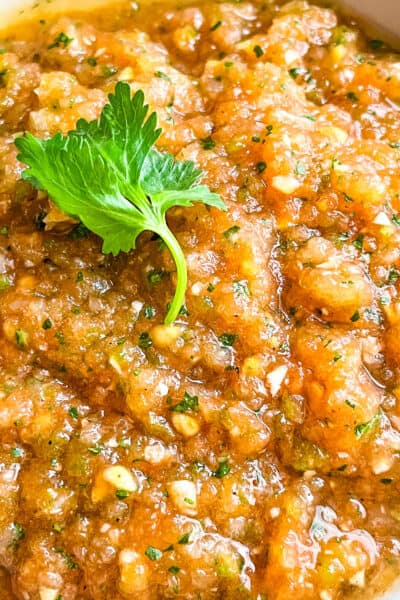 Close up of Ranchera Salsa with a cilantro leaf on top
