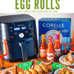 Pin image of Buffalo Chicken Egg Rolls with title at top