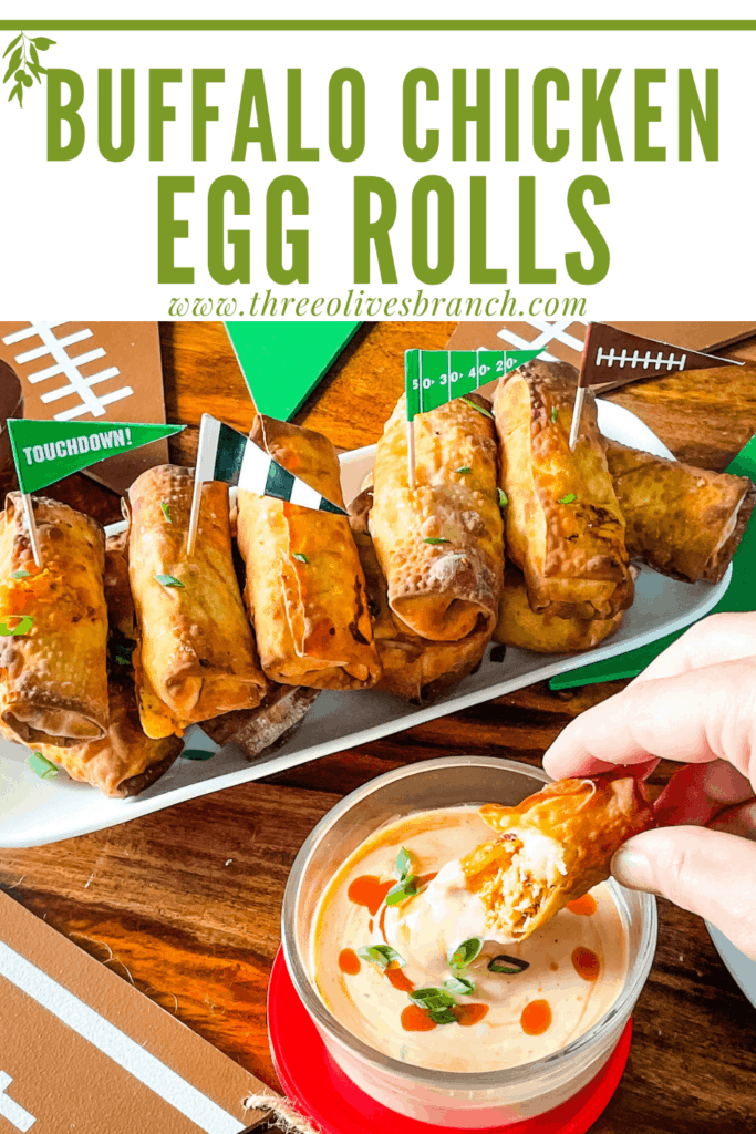 Pin image for Buffalo Chicken Egg Rolls with title at top