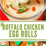 Long pin image for Buffalo Chicken Egg Rolls with title