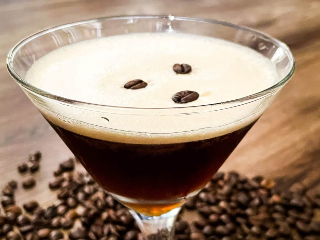 Closer view of an Espresso Martini in the glass