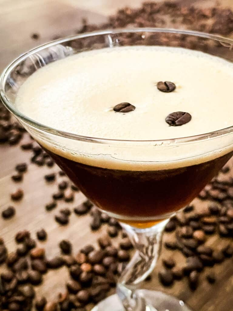Closer view of the drink with coffee beans