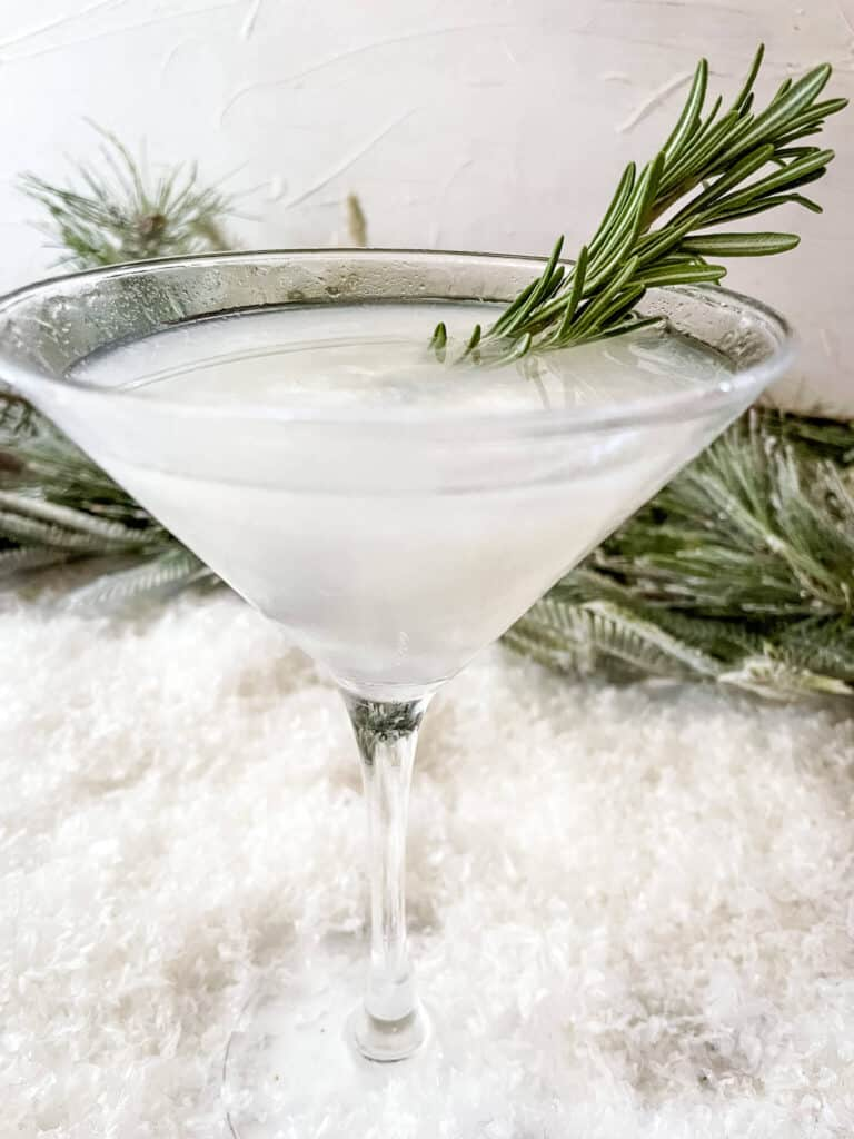 Side view of Frosted Pine Gibson Martini with rosemary in it