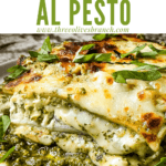 Pin image of Lasagna al Pesto from the side on a plate with title at top