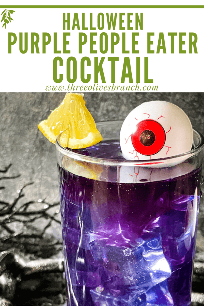 Pin image of Purple People Eater Halloween Cocktail (+Mocktail) with title at top